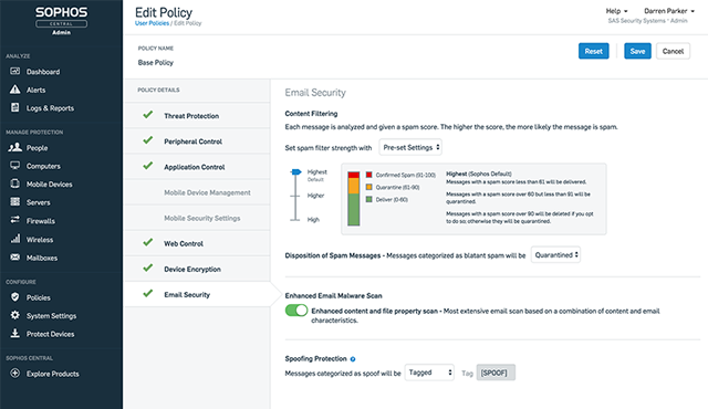 Email-Policy-Pre-configured-Options